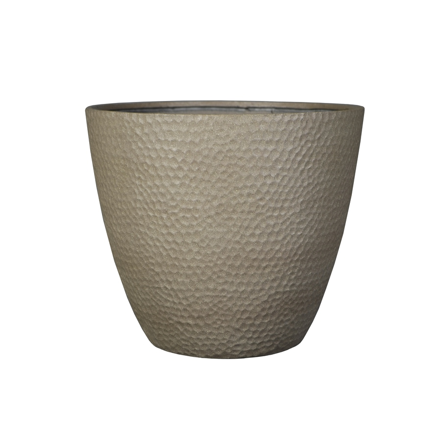 allen + roth 15.16-in x 13.94-in Sand Resin Planter
