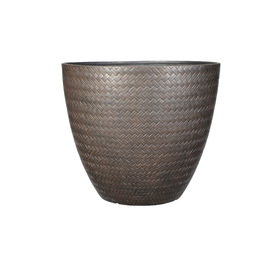 allen + roth 8.03-in x 6.97-in Rust Resin Planter