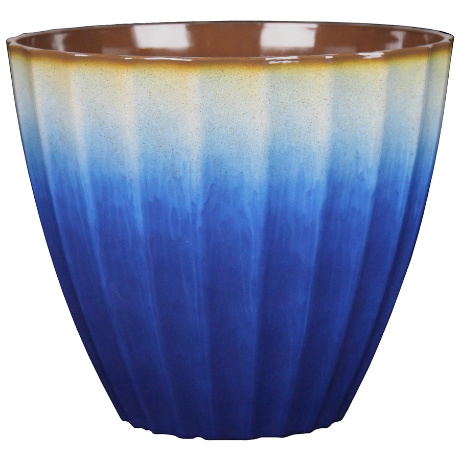 allen + roth 18.58-in x 17.32-in Blue Resin Planter