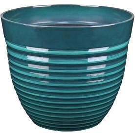 allen + roth 13.91-in W X 11.93-in H Teal Resin Planter