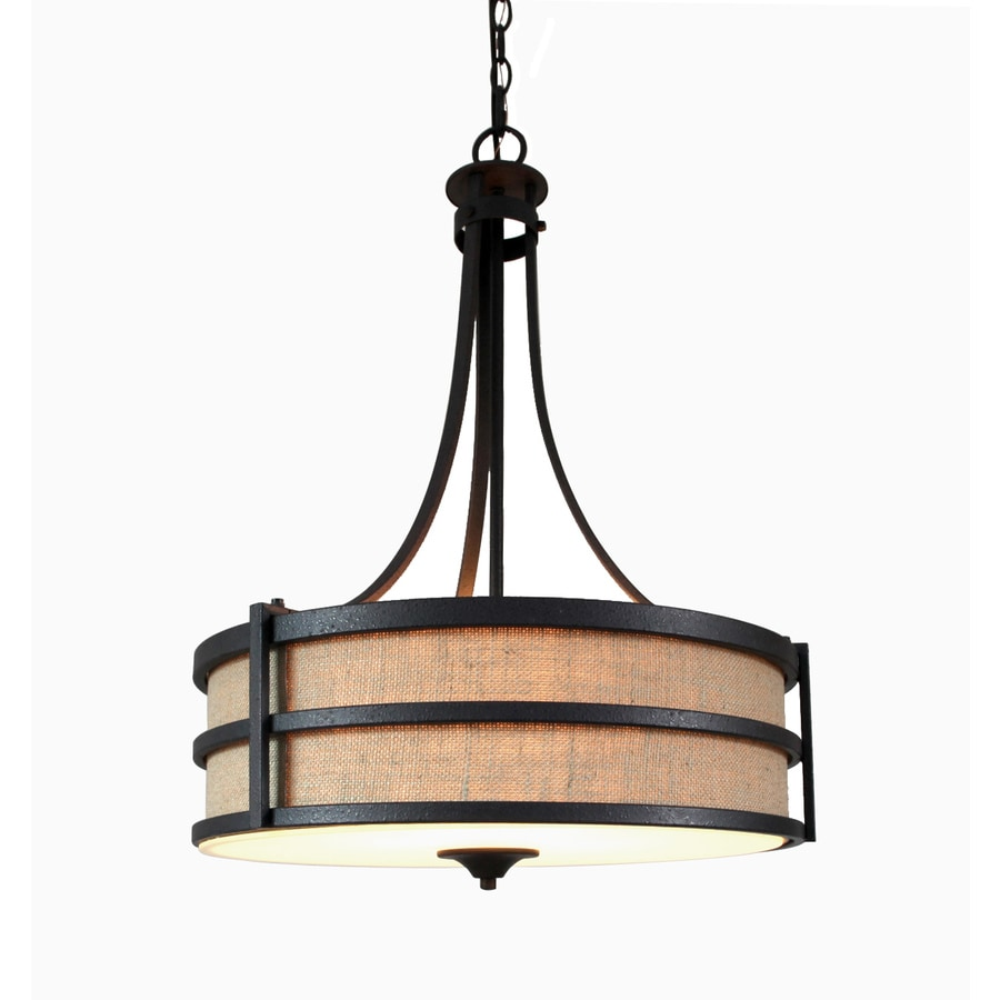 allen + roth 20-in Textured Rustic Iron Rustic Single Pendant