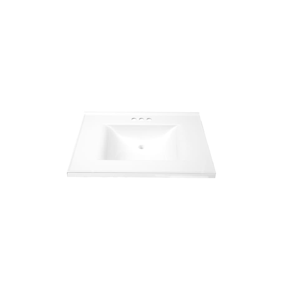 allen + roth 31-in W x 22-in D Eagle Solid White Cultured Marble Vanity Top