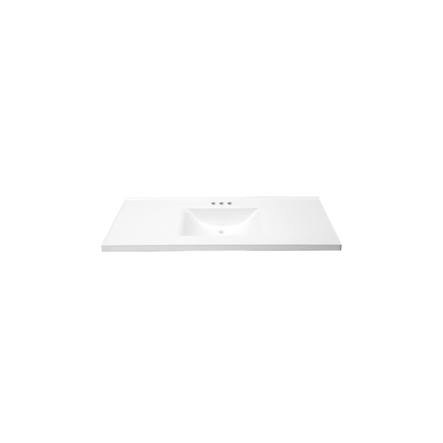 allen + roth Eagle Solid White Cultured Marble Integral Single Sink Bathroom Vanity Top (Actual: 49-in x 22-in)