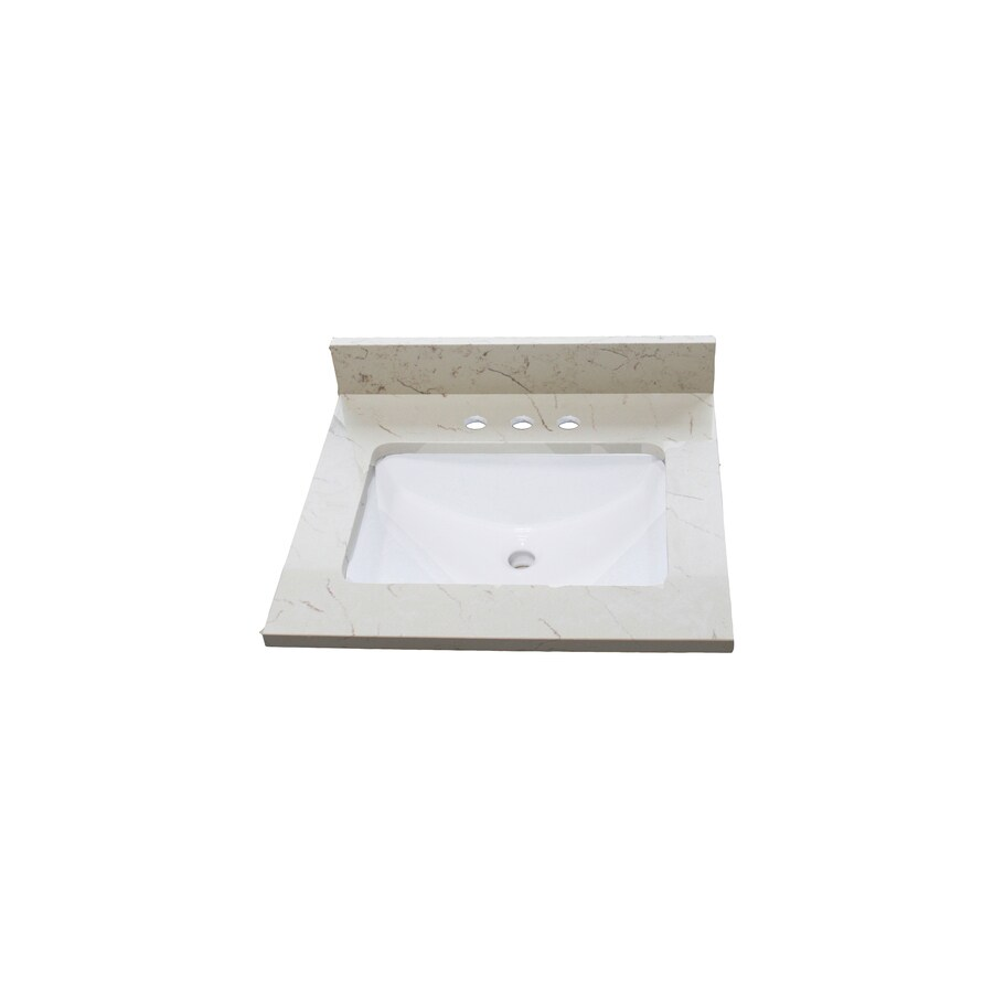 allen + roth Eagle Giallo Quartz Undermount Single Sink Bathroom Vanity Top (Common: 25-in x 22-in; Actual: 25-in x 22-in)
