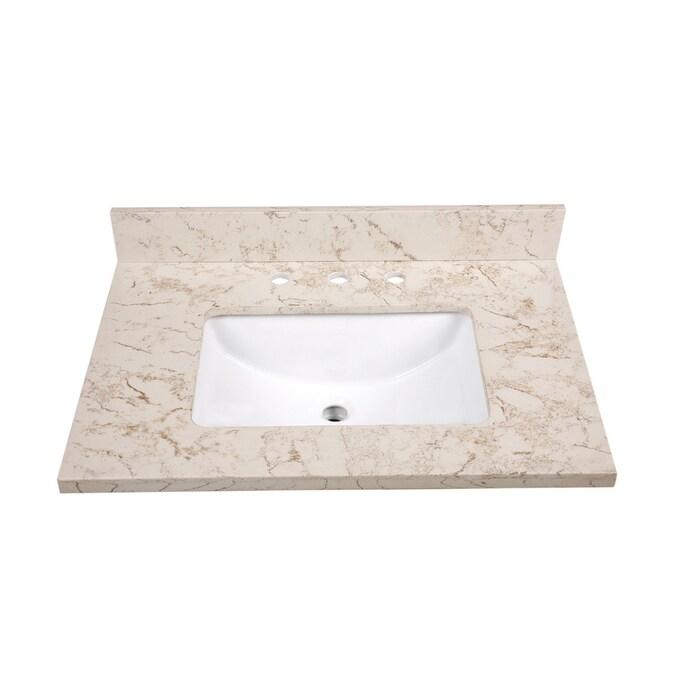 Allen Roth 31 In Marbled Beige Quartz Single Sink Bathroom Vanity Top In The Bathroom Vanity Tops Department At Lowes Com