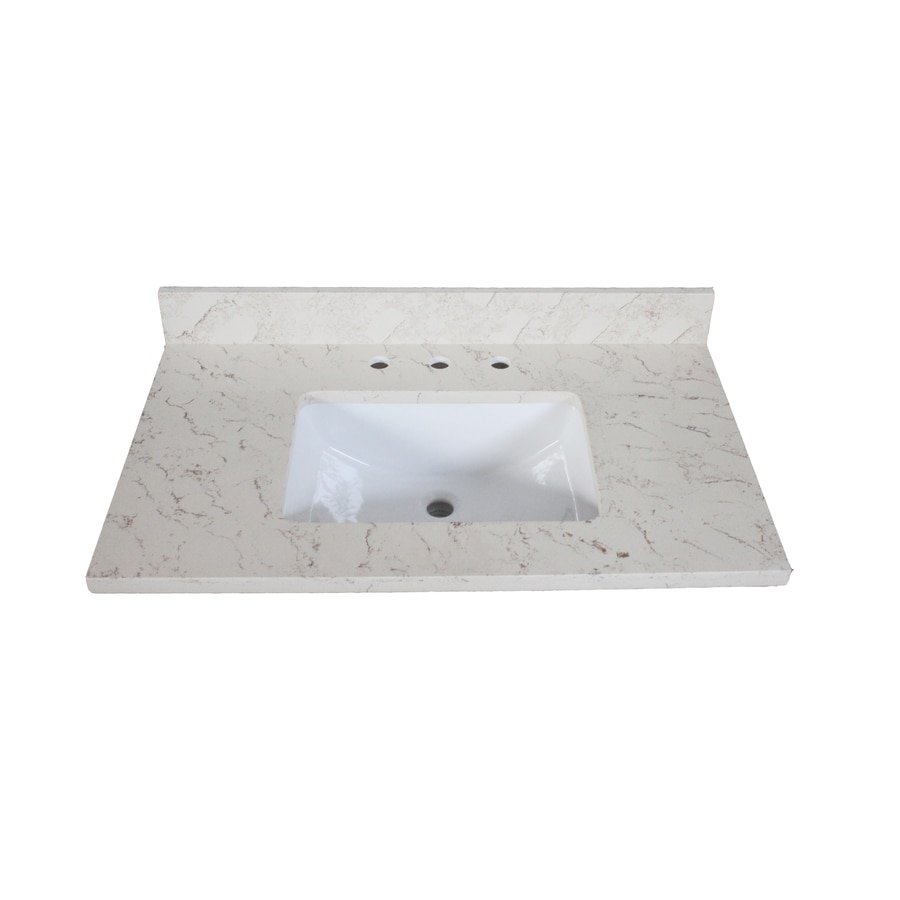 Shop allen roth eagle giallo quartz undermount bathroom for Bathroom quartz vanity tops