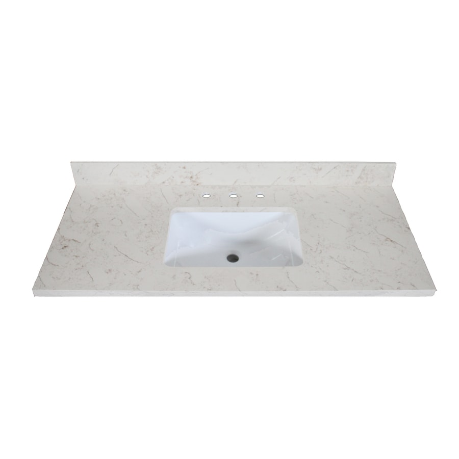 Shop allen roth eagle marbled beige quartz undermount for Bathroom quartz vanity tops
