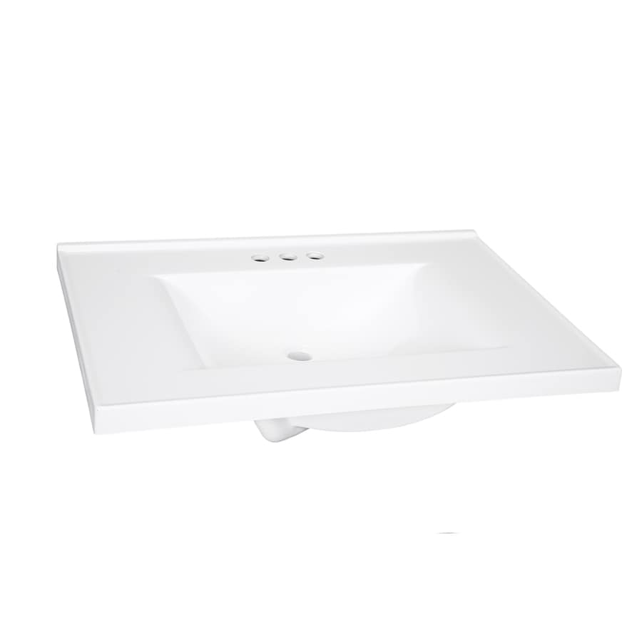 Style Selections Solid White Cultured Marble Integral Single Sink Bathroom Vanity Top Common 31