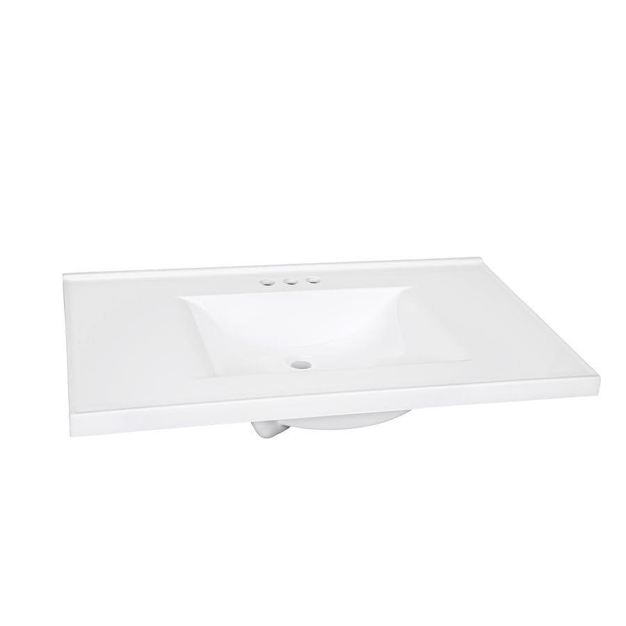 shop style selections solid white cultured marble integral single