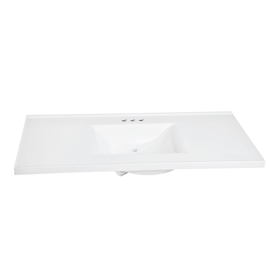 Style Selections 49 In Solid White Cultured Marble Bathroom Vanity