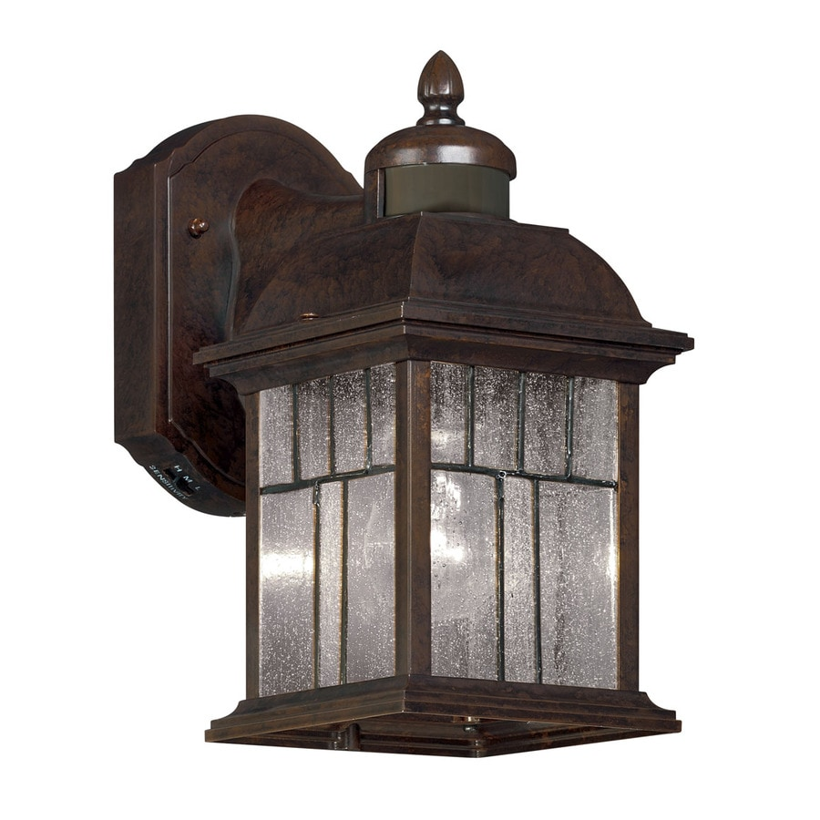 Portfolio 11.5-in H Bronze Motion Activated Outdoor Wall Light