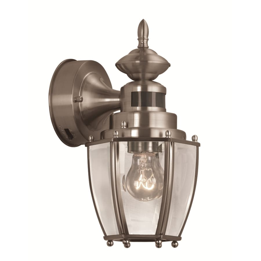 Shop Portfolio 11.75-in H Brushed Nickel Motion Activated Outdoor Wall Light at Lowes.com