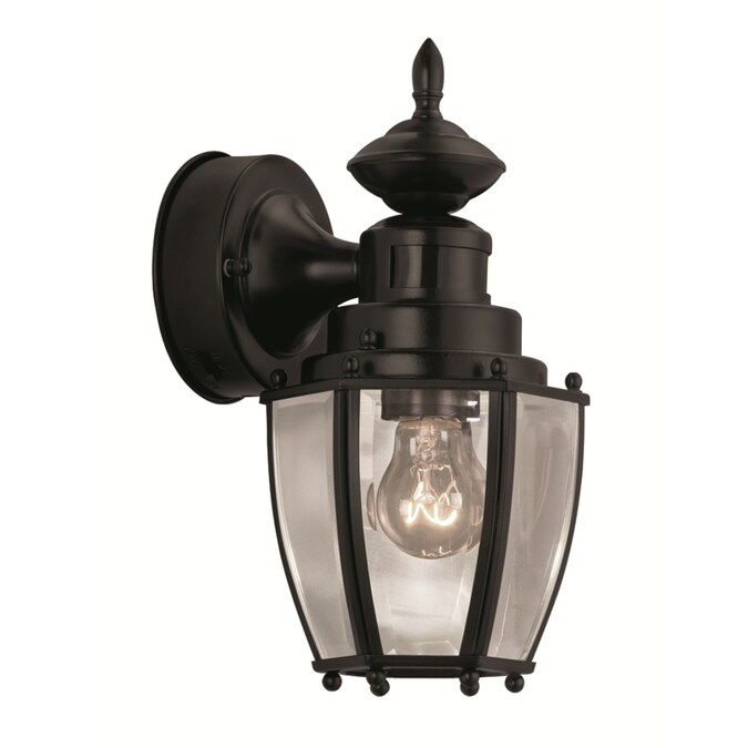 Portfolio 11 75 In H Black Medium Base E 26 Outdoor Wall Light In The Outdoor Wall Lights Department At Lowes Com