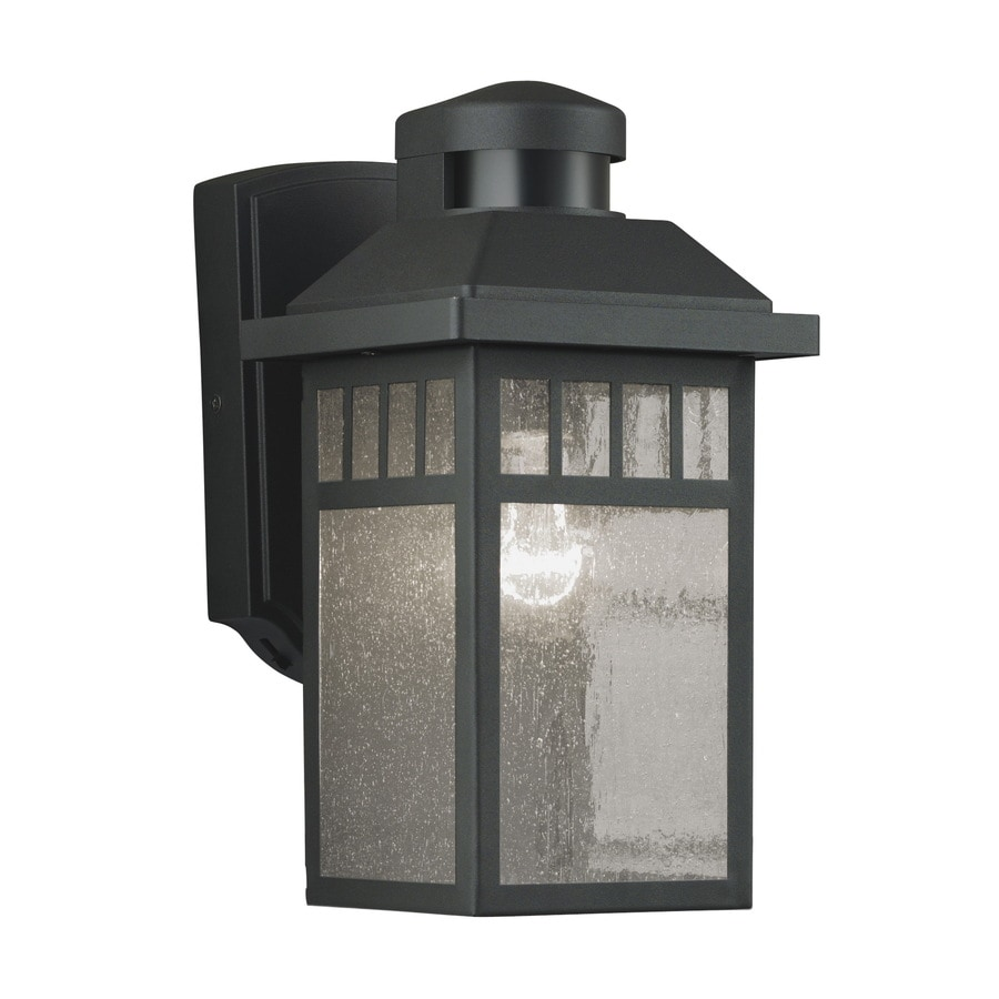 Outside Halogen Wall Lights : Shop Portfolio 11.5-in H Black Motion Activated Outdoor Wall Light at Lowes.com
