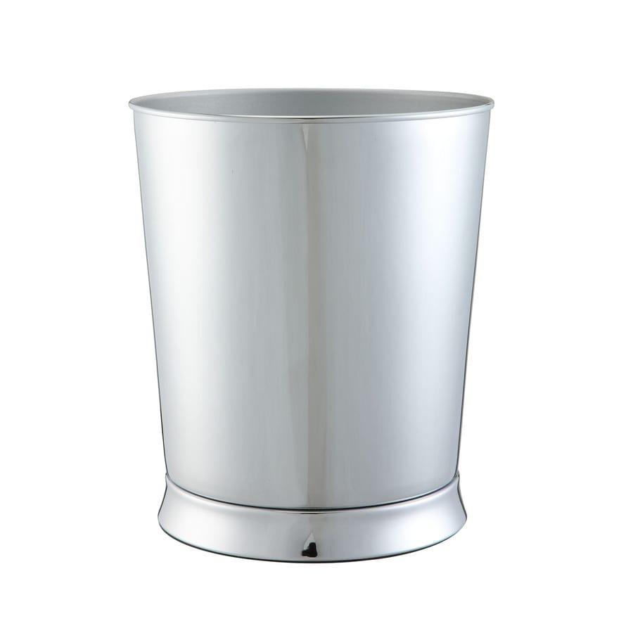 Shop allen roth brinkley chrome metal wastebasket at for Bathroom wastebasket
