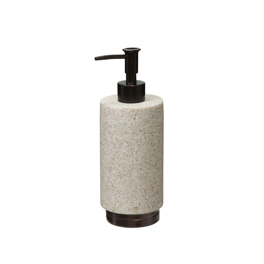 Style Selections Cambry Stone Taupe Sandstone with Oil-Rubbed Bronze Accents Soap and Lotion Dispenser