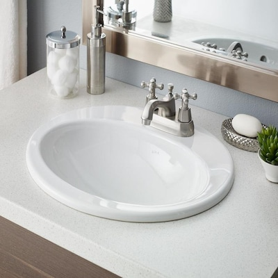 Cheviot White Drop In Round Bathroom Sink With Overflow Drain 18 75 In X 20 63 In In The Bathroom Sinks Department At Lowes Com