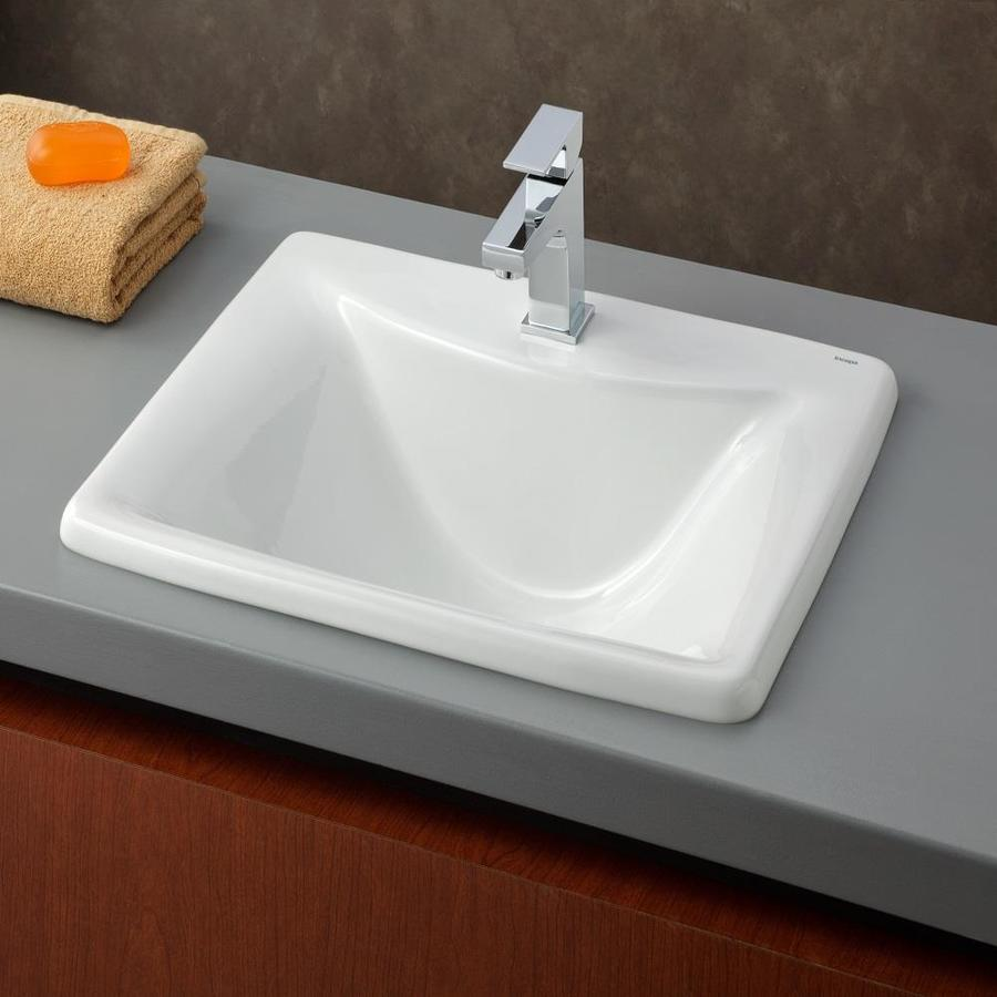 Cheviot White Drop In Or Undermount Square Bathroom Sink 17 63 In X 21 25 In In The Bathroom Sinks Department At Lowes Com