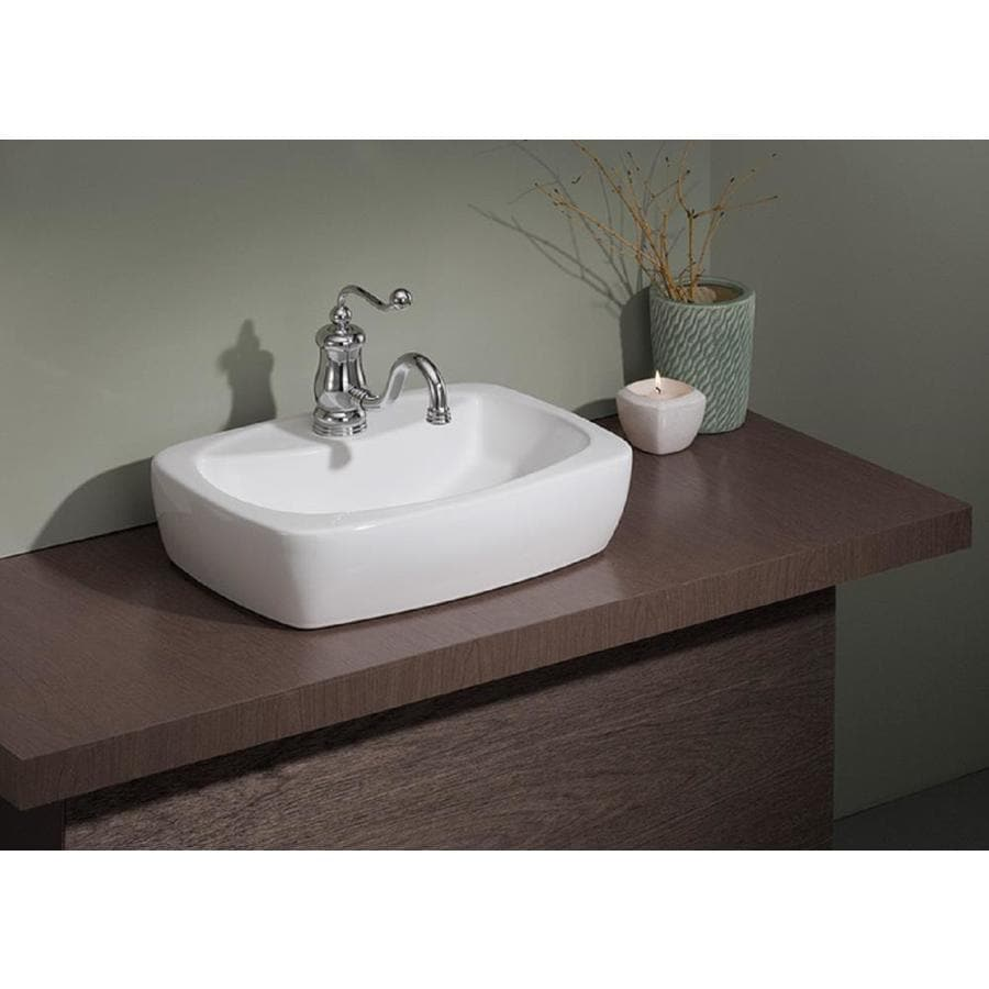 Cheviot Thema White Vessel Rectangular Bathroom Sink At