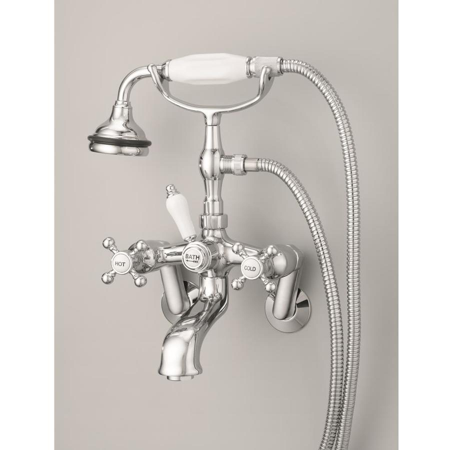 Cheviot Brushed Nickel 3 Handle Bathtub And Shower Faucet