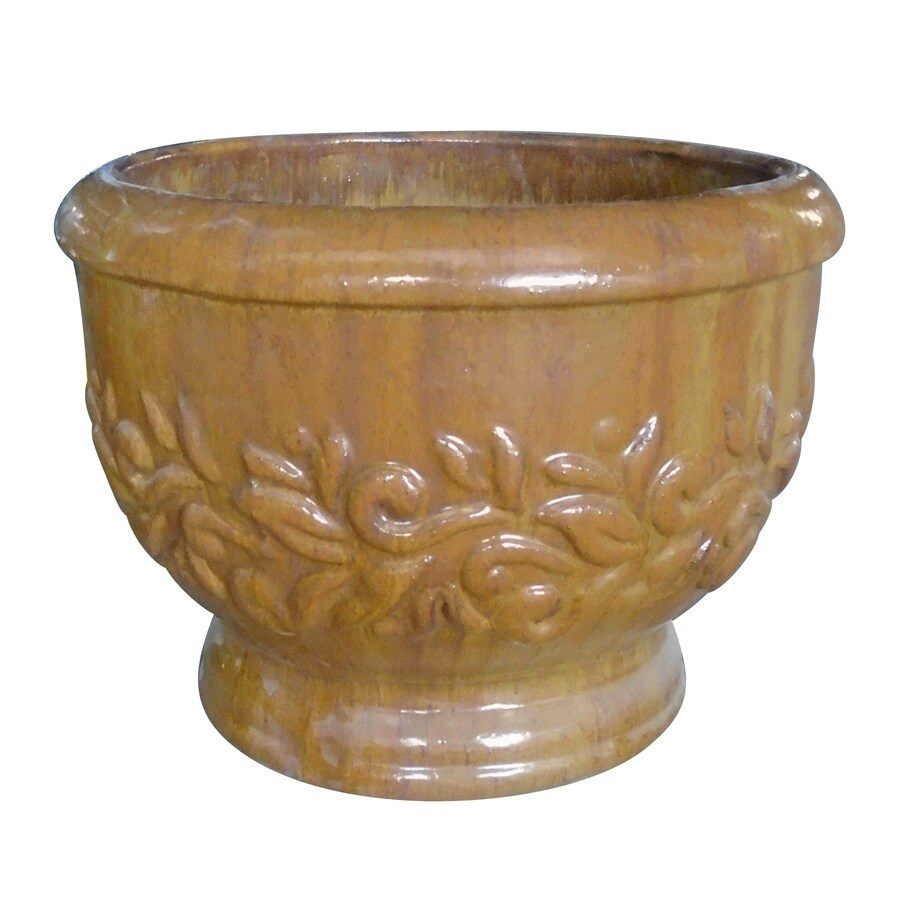 17.32-in x 12.99-in Burnt Cream Glazed Ceramic Round Planter
