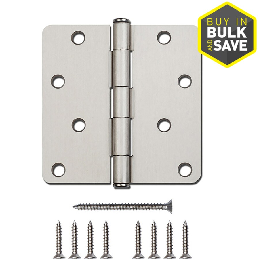 National Hardware 4-in H Satin Nickel Radius Interior/Exterior Mortise Door Hinge