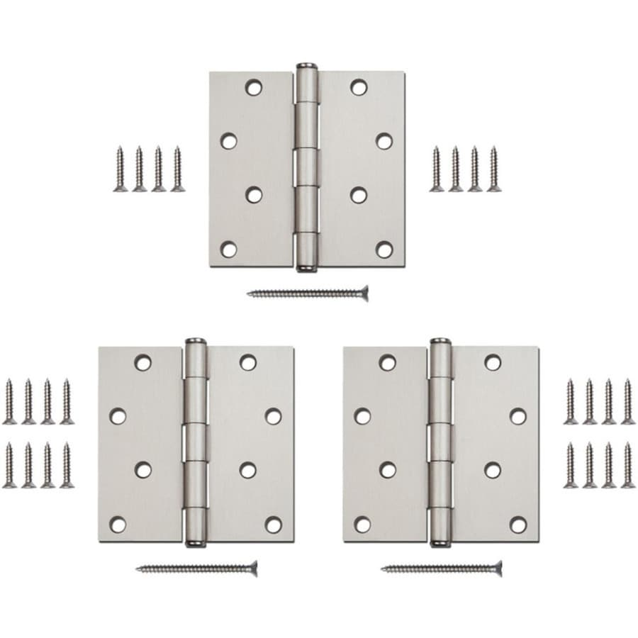 Gatehouse 3-Pack 4-in H Satin Nickel Interior/Exterior Mortise Door Hinge