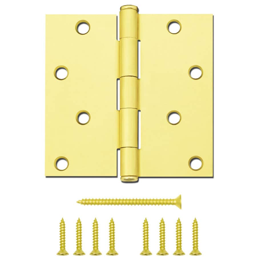 National Hardware 4-in H Satin Brass Radius Interior/Exterior Mortise Door Hinge