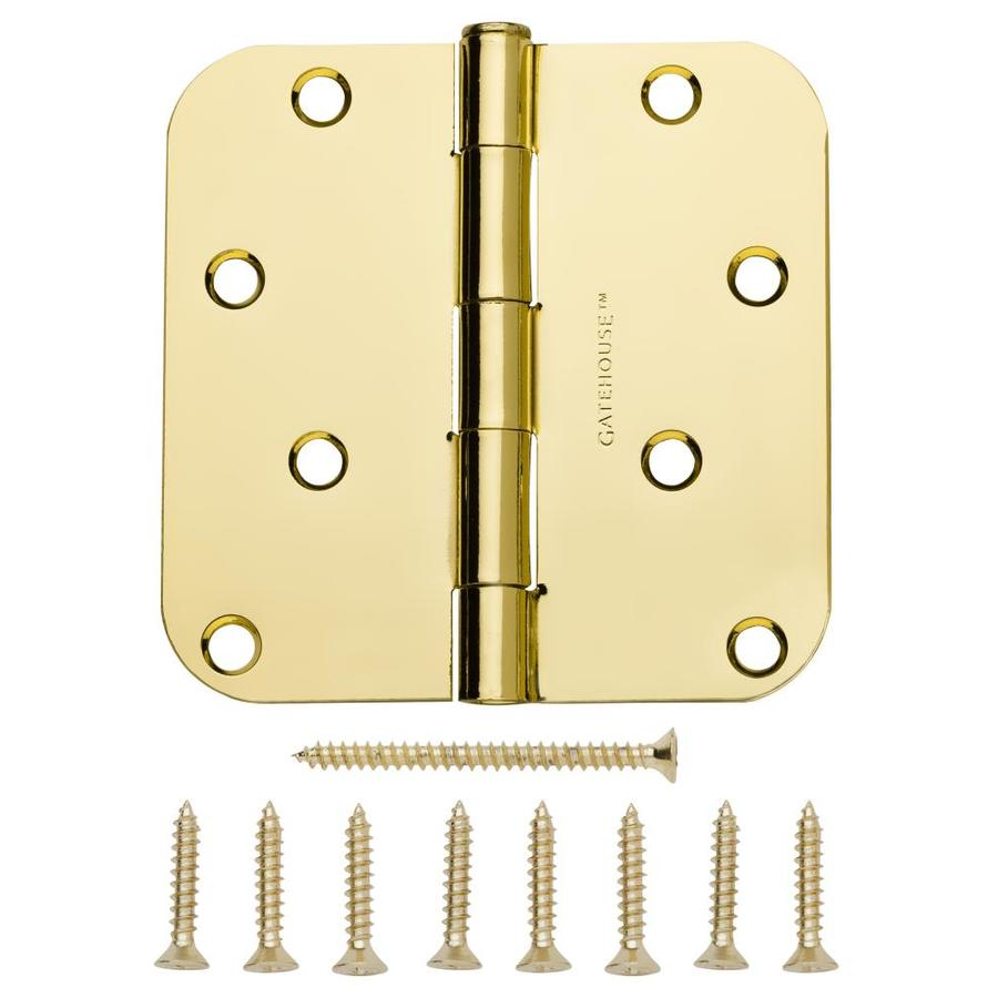 Gatehouse 4-in H Polished Brass 5/8-in Radius Interior/Exterior Mortise Door Hinge