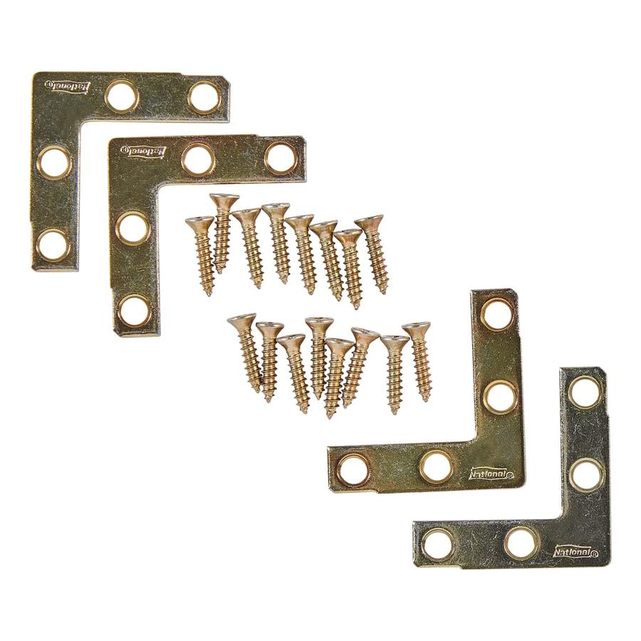 National Hardware 4-Pack 1.5-in x 1.5-in x 0.07-in Brass Flat Brace