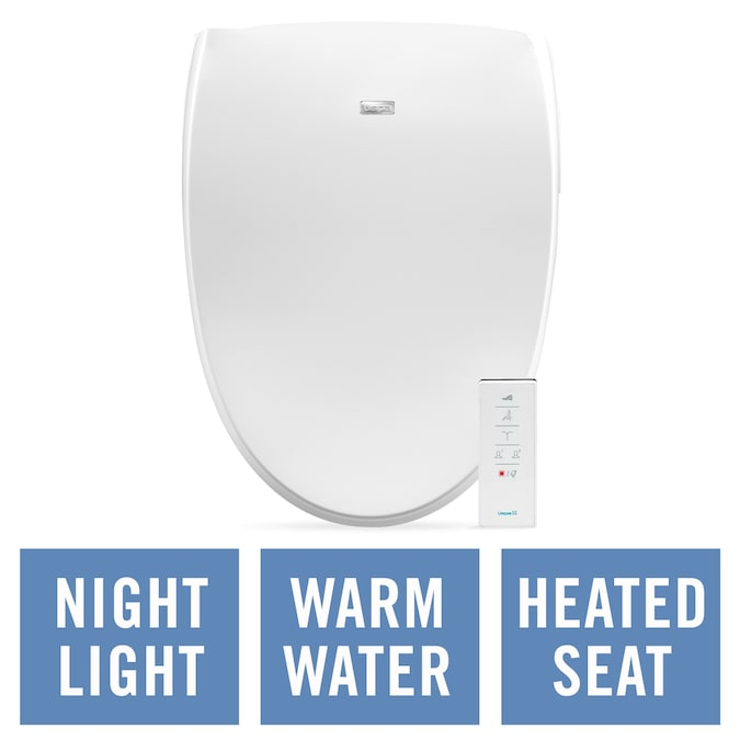Bio Bidet White Elongated Slow Close Heated Bidet Toilet Seat In The Toilet Seats Department At Lowes Com