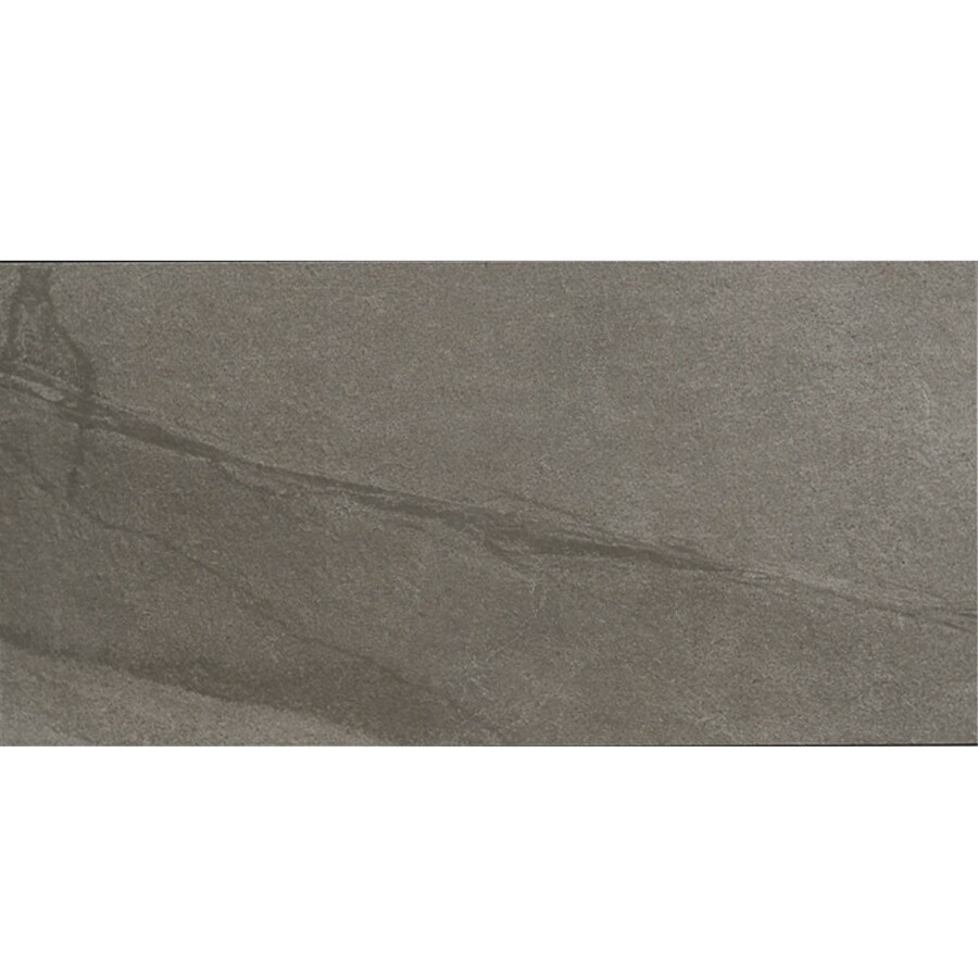 Style Selections Dover Valley Titanium Porcelain Floor and Wall Tile (Common: 12-in x 24-in; Actual: 23.85-in x 11.85-in)