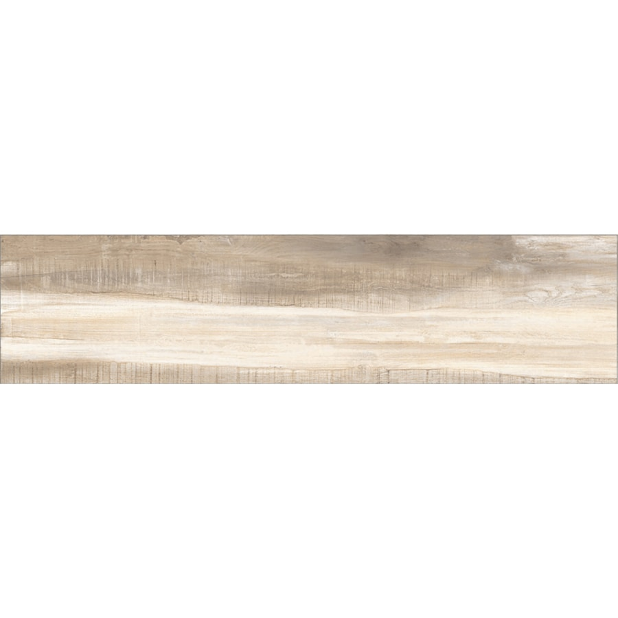 Style Selections Mountain Bend Camel Wood Look Porcelain Floor and Wall Tile (Common: 48-in x 12-in; Actual: 47.4-in x 11.73-in)