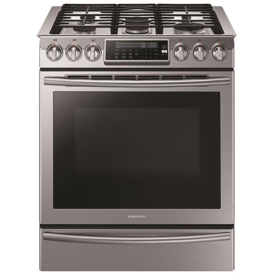 Samsung 5-Burner 5.8-cu ft Slide-In Convection Gas Range (Stainless Steel) (Common: 30-in; Actual 29.8125-in)