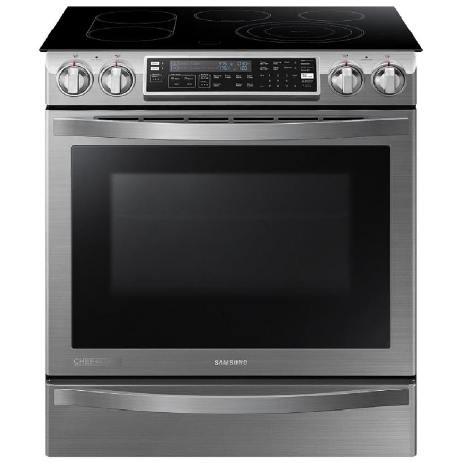 Samsung Chef Collection Smooth Surface 5-Element Self-Cleaning Slide-In Convection Electric Range (Stainless Steel) (Common: 30-in; Actual 29.8125-in)