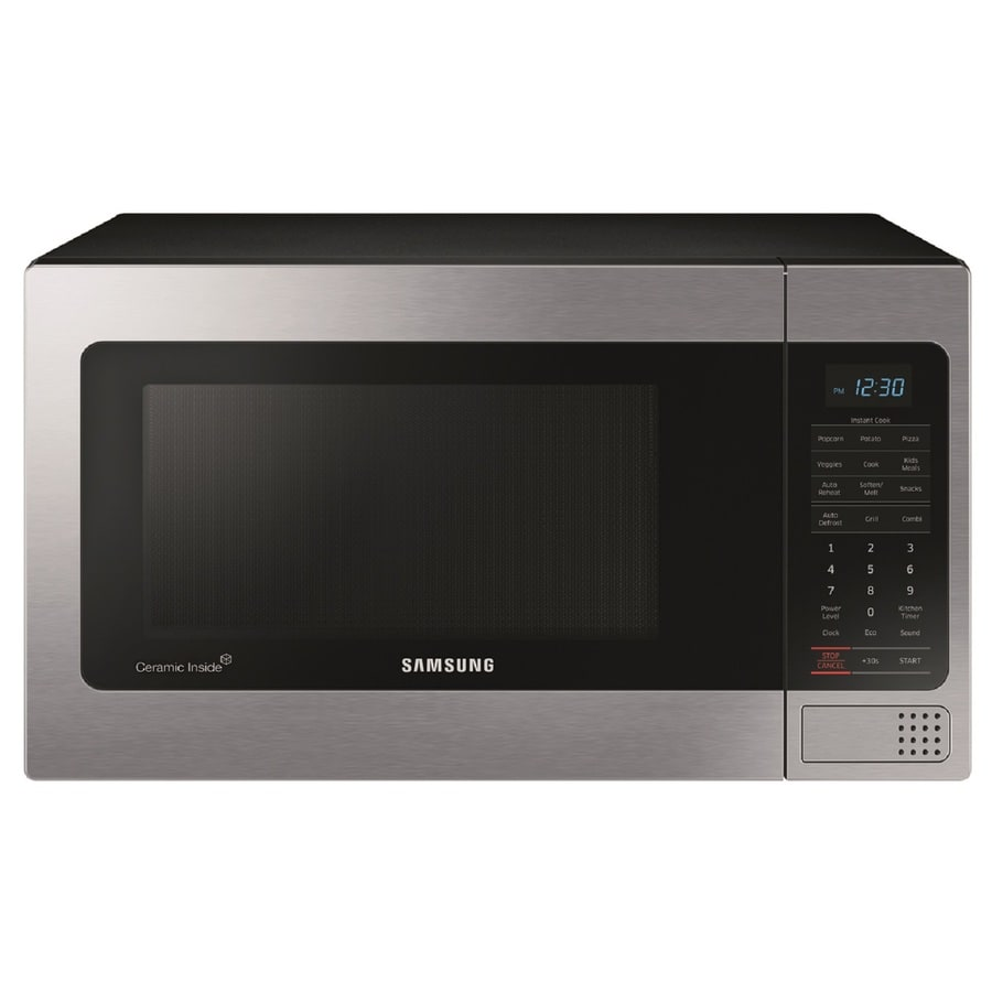 Shop Samsung 1.1-cu ft 1000-Watt Countertop Microwave (Stainless ...