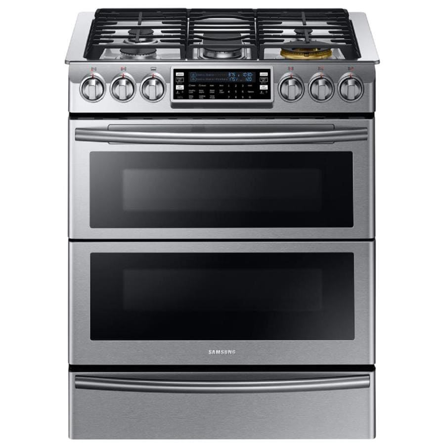 Samsung Chef Collection 30-in 5 2.4-cu ft / 3.3-cu ft Self-Cleaning Double Oven Convection Dual Fuel Range (Stainless Steel)