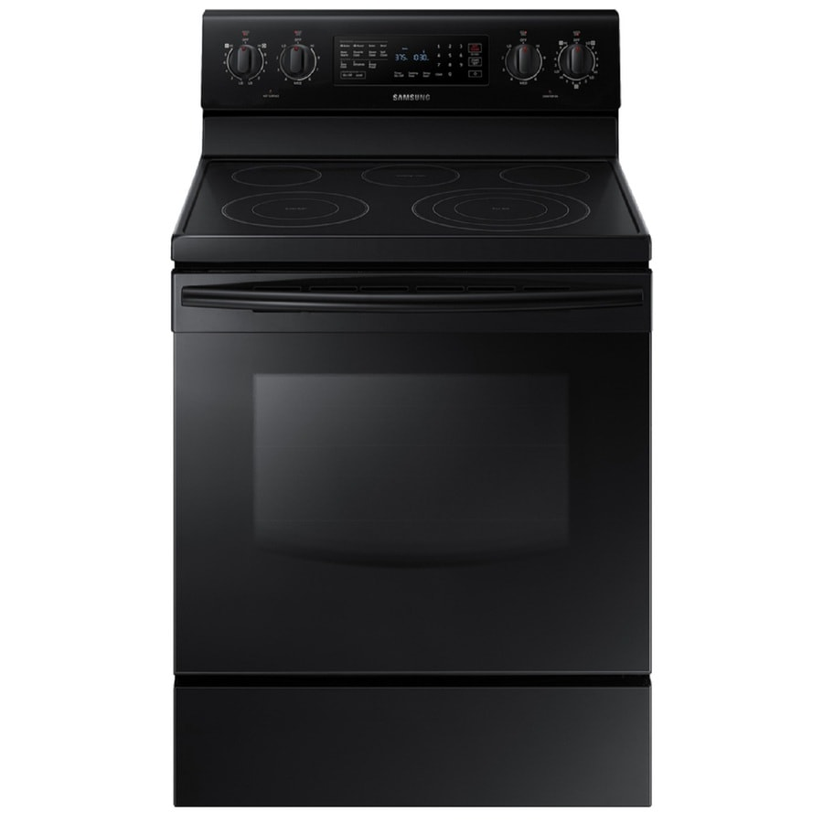 Samsung Smooth Surface Freestanding 5-Element 5.9-cu ft Self-Cleaning Convection Electric Range (Black) (Common: 30-in; Actual: 29.875-in)
