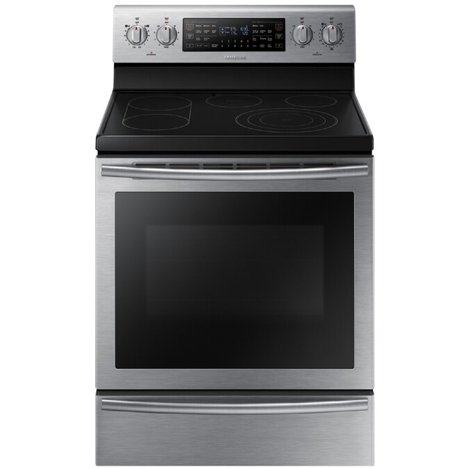 Samsung Flex Duo 30 In Smooth Surface 5 Elements 5 9 Cu Ft Self Cleaning With Steam Electric Range Stainless Steel In The Double Oven Electric Ranges Department At Lowes Com