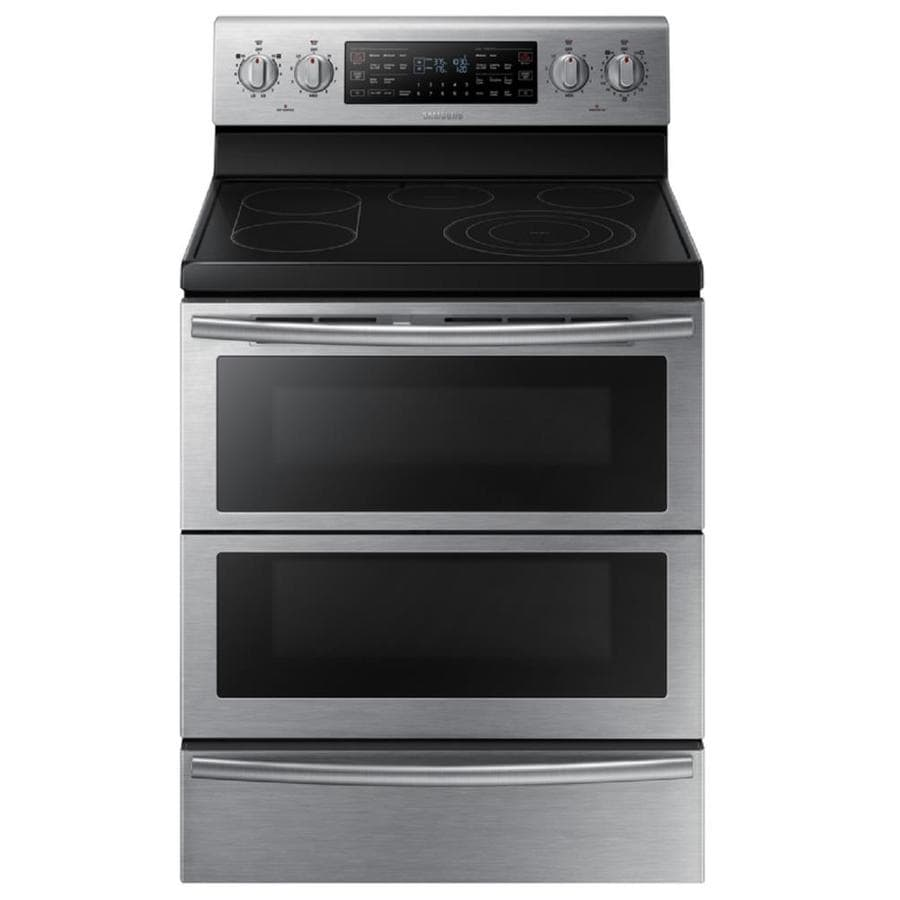 Samsung 30-in Smooth Surface 5-Element 2.6-cu ft/3.2-cu ft Self-Cleaning Double Oven Convection European Element Electric Range (Stainless Steel)
