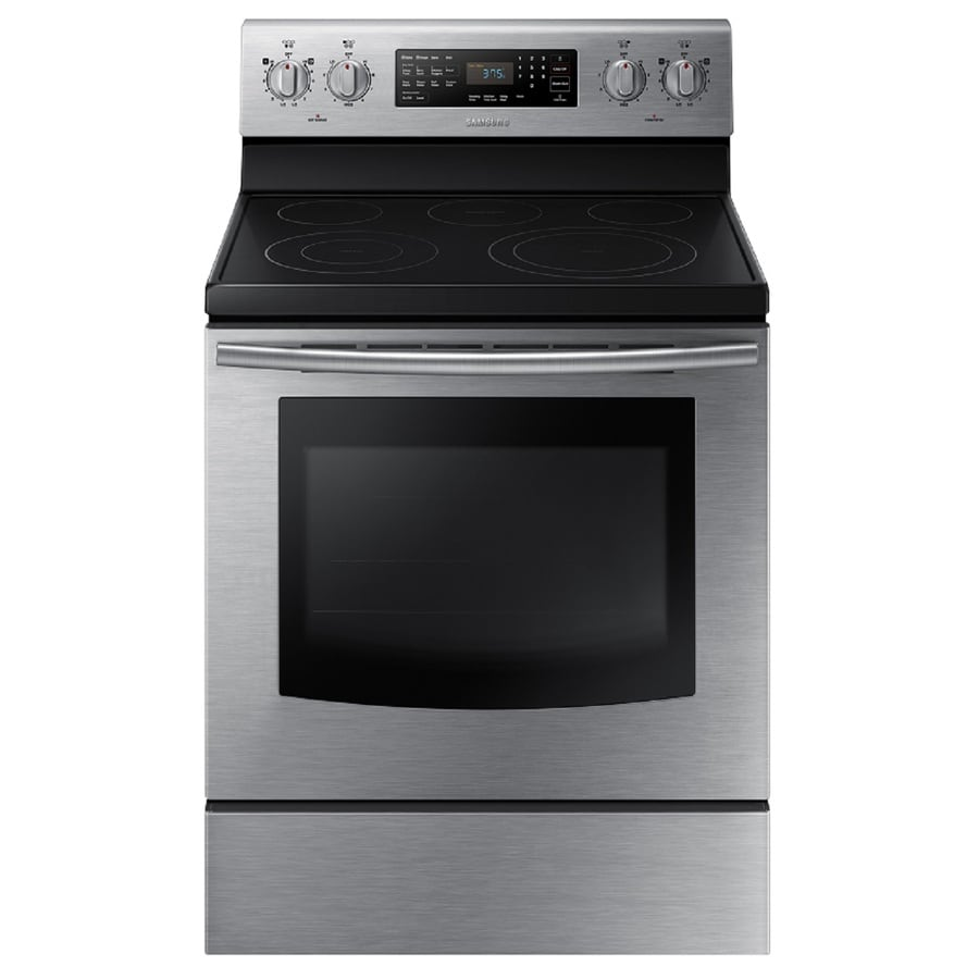 Samsung Smooth Surface Freestanding 5-Element 5.9-cu ft Self-Cleaning with Steam Convection Electric Range (Stainless Steel) (Common: 30-in; Actual: 29.88-in)