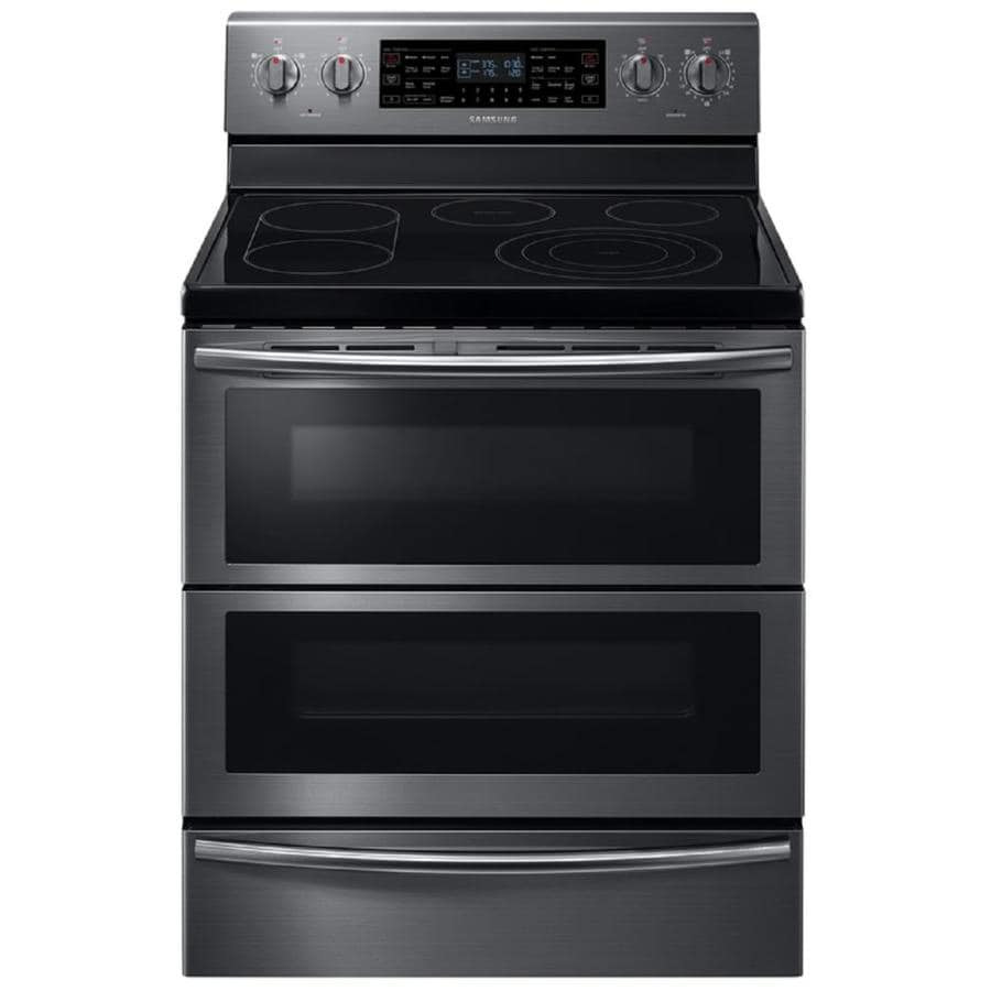 Samsung Flex Duo 30-in Smooth Surface 5-Element 2.6-cu ft/3.2-cu ft Self-Cleaning Double Oven Convection European Element Electric Range (Black Stainless Steel)
