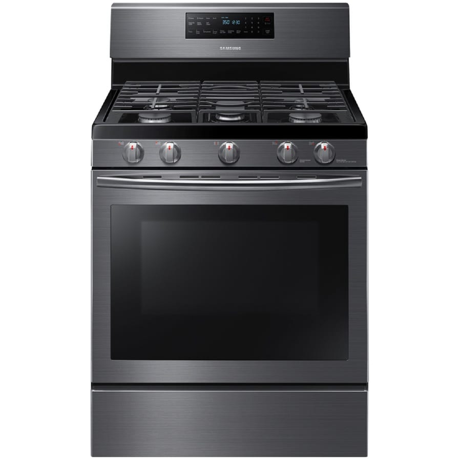 black and stainless kitchen samsung  burner freestanding  cu ft convection gas range black stainless steel
