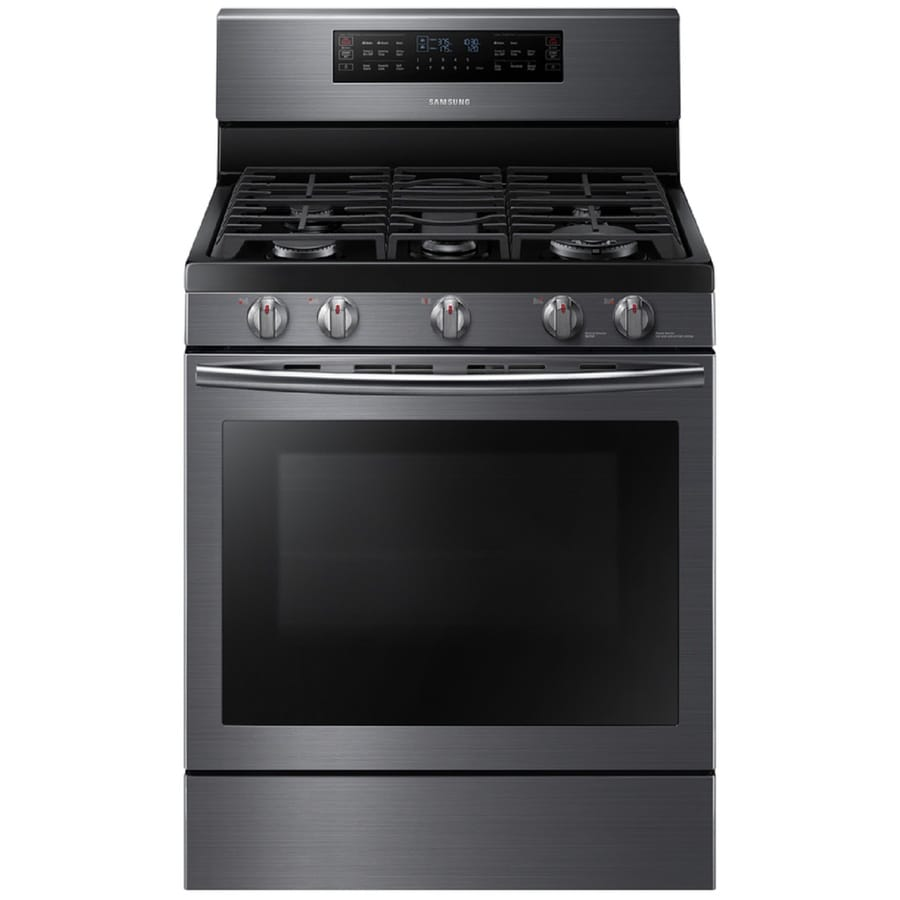 Samsung Flex Duo 5-Burner Freestanding 5.8-cu ft Self-cleaning Convection Gas Range (Black stainless) (Common: 30-in; Actual: 29.9375-in)