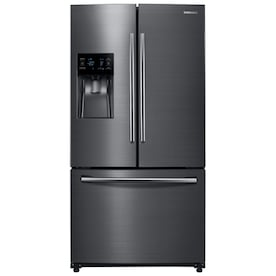 Samsung 24.6-cu ft French Door Refrigerator with Dual Ice Maker (Fingerprint-Resistant Black Stainless Steel) ENERGY STAR