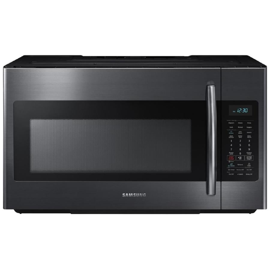 Samsung 1 8 Cu Ft Over The Range Microwave With Sensor Cooking Fingerprint Resistant Common 30 In Actual 29 875
