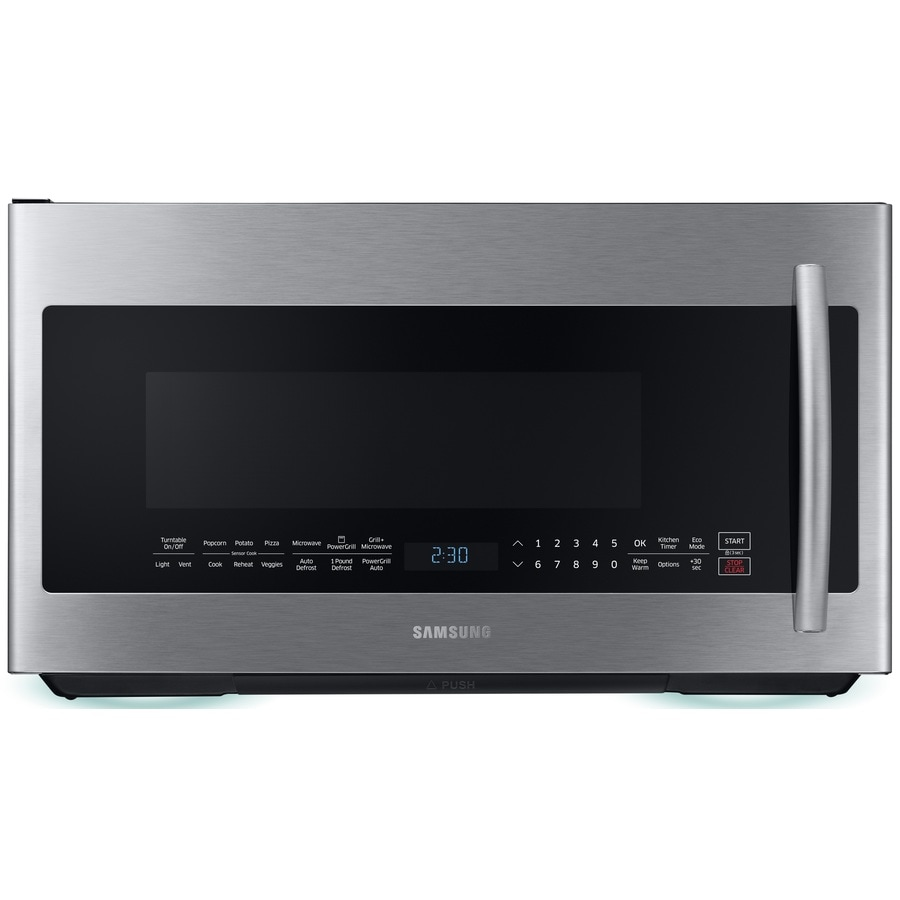 Samsung 2.1-cu ft Over-the-Range Microwave with Sensor Cooking Controls (Stainless Steel) (Common: 30-in; Actual: 29.875-in)