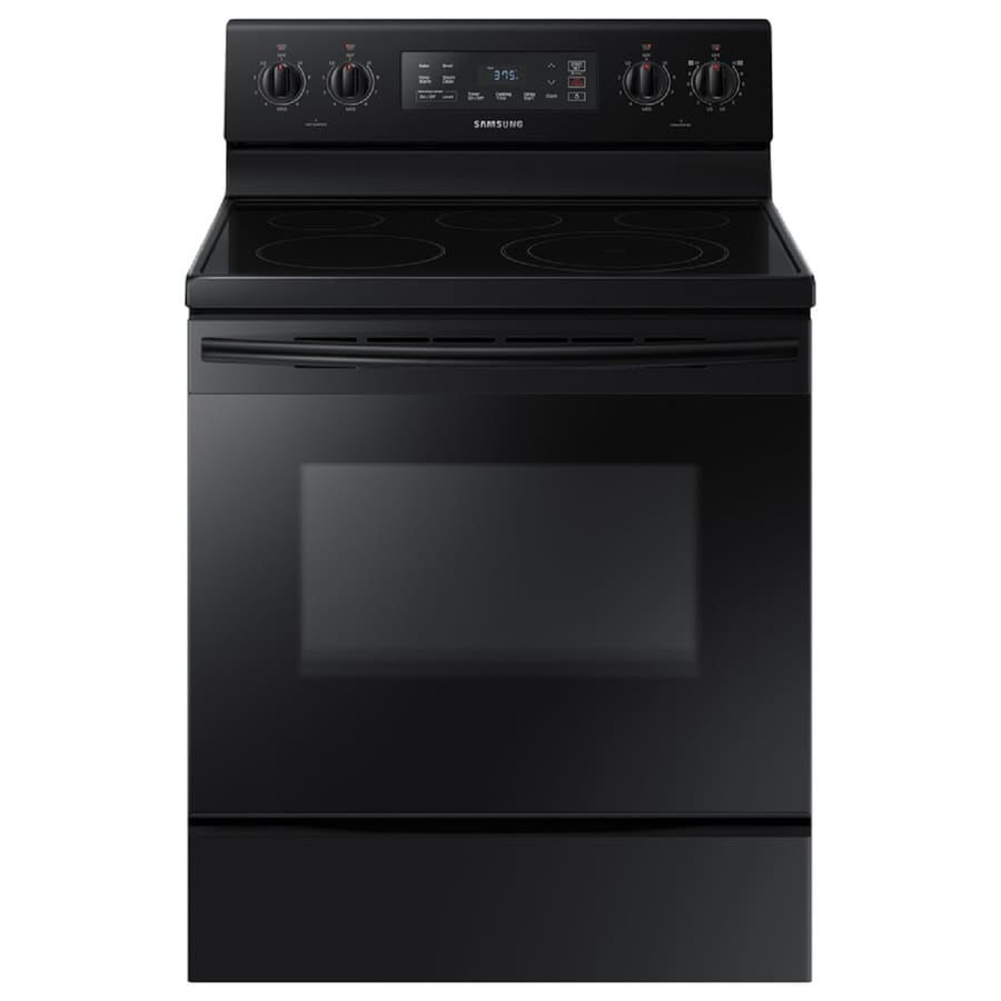 Samsung Smooth Surface Freestanding 5-Element 5.9-cu ft Self-Cleaning Electric Range (Black) (Common: 30-in; Actual: 29.875-in)