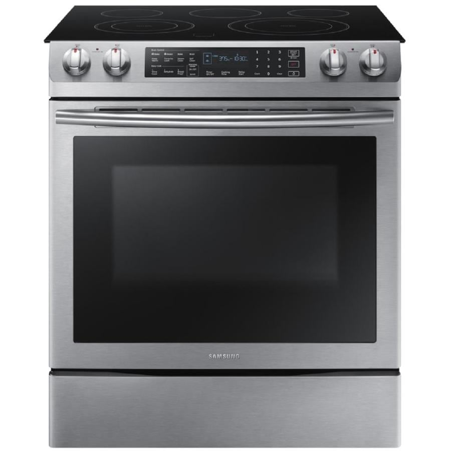 Samsung Smooth Surface 5-Element Self-cleaning With Steam Slide-In Multi-fan Electric Range (Stainless steel) (Common: 30-in; Actual 31-in)