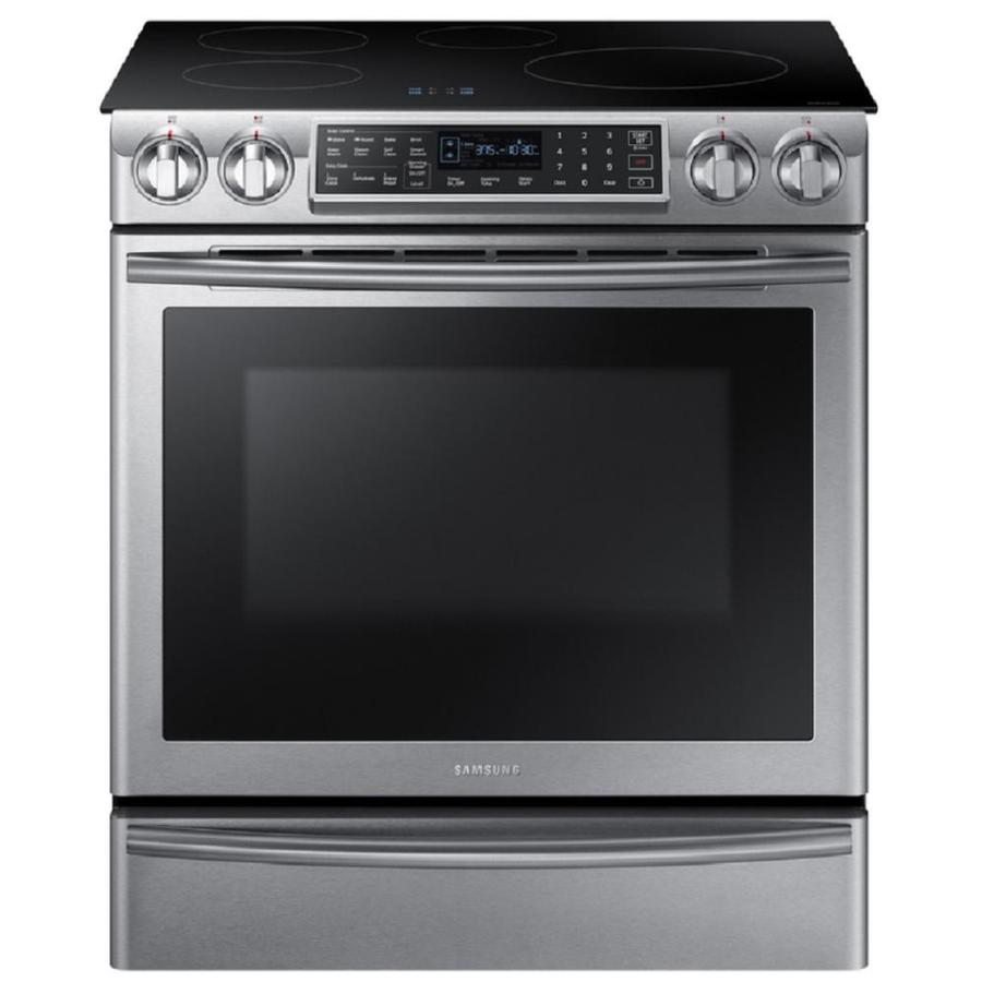 Samsung 5.8-cu ft Self-Cleaning Slide-In Induction Range (Stainless Steel) (Common: 30-in; Actual 31-in)